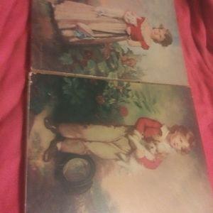 Vintage Jane freeman prints on wood ...